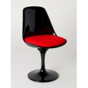 Replica Eero Saarinen Tulip Chair-Black Fibreglass/Red Cushion