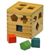 Finely Crafted Wood Shape Sorting Cube - Box Educational Toy for Toddlers & Young Children