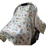 Vlokup 100% Cotton Baby Car Seat Covers for Babies Breathable Infant Car Seat Canopy Baby Shower Gift Pasture Muslin