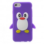 Stevig pinguin hoesje iPhone 7 Paars silicone cover 3D opdruk