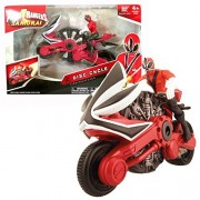 Bandai Year 2011 Power Rangers Samurai Series 7 Inch Long Action Figure Vehicle Set Fire Disc Cycle With Red Power Ranger Figure