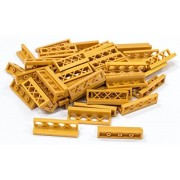 Lego Building Accessories 1 x 4 x 1 Pearl Gold Fence, Bulk - 50 Pieces per Package