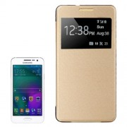 Leather Cover Connect Translucence PC Back Shell Protective Case with Caller ID Window for Samsung Galaxy A5 / A500(Gold)