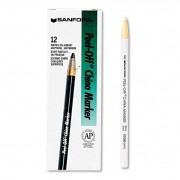 Peel-Off China Markers, White, Dozen