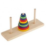 Magideal Wooden Tower Of Hanoi Toy Traditional Indian Game Family Home Play Kids Gift