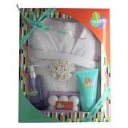 Style & grace bubble boutique deluxe robe confezione regalo 250ml bagnoschiuma + 100g bath fizzers + 200ml lozione corpo + accappatoio (taglia unica) + spugna a fiore
