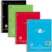 """Wirebound 1 Subject 3-Hole Notebook 10.5""""X8"""" 70 Sheets-Assorted Bright Colors, Wide Rule"""