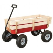 """All Terrain Steel And Wood Pull Cart Wagon For Kids W/ Extra Large 10"""" Air Tires For Hauling Heavy Duty Country Model 300lb Load Capacity"""