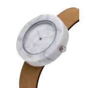 Analog Watch Mason Circular White Marble Body & Tan Strap Watch ST-WO