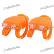 Langosta en forma 3-el modo de 2 LED rojo y azul Tie-En bicicleta de luz llavero - Orange (Par / 2 x CR2032)
