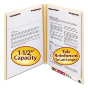 W-Fold Manila Expansion Folders, Two Fasteners, End Tab, Letter, Manila, 50/box