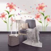rosegal Fashion Pink Lilium Pattern Wall Sticker For Livingroom Bedroom Decoration