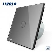 Intrerupator simplu wireless cu touch Livolo din sticla, gri