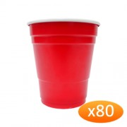 """""""American Red Plastic Party Cups - 285ml Minis (80 Pack)"""""""