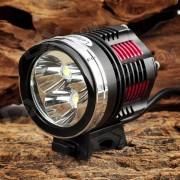LetterFire 1800lm 3-LED de 4 modos de bicicletas Set Jefe de la lampara - Rojo + Amarillo (8.4V / 4 x 18650)