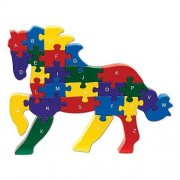 Bits and Pieces - Horse Shaped Alphabet Puzzle - ABC puzzle blocks - Educational Learn Letters and Numbers Horse Puzzle Animal - Colorful, Non-Toxic Paint by Bits and Pieces