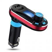 MOKE Transmisor FM Bluetooth manos libres para el coche transmisor de radio reproductor de mp3 con control remoto USB dual para iPhone 6 6s 5s 6 Plus Samsung Galaxy Tablet S7 S6 S5 LG G4 5 HTC (rojo)