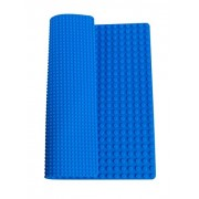 Premium 15 x 15 Double Sided Silicone Baseplate Mat - Blue Roll Up Base Plate with Large and Small Pegs - (Compatible with LEGO and DUPLO)