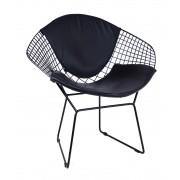 Replica Harry Bertoia Diamond Chair - black powdercoat + back cushion - various colour cushions