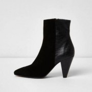 River Island Black suede cone heel ankle boots