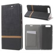 Huawei P10 - Wallet Case Hoesje - Book Case Denim en Leer - Zwart