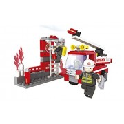 Fire Brigade Fire Truck with A Swivel Water Canon to Extinguish Fires 133pc Ausini Educational Building Blocks Set Compatible To Lego Parts - Best Gift for Boys and Girls