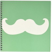 3dRose db_58333_1 White Mustache on Green Ironic Hipster Moustache Humorous Fun Whimsical Silly Funny Drawing Book 8 by 8-Inch