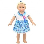 Summer Bitty Baby Doll Clothes Summer Beautiful Butterflies Doll Clothing Dresses for 14 - 16 Inches American Girl Dolls (Blue)