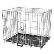 vidaXL Skladacia kovová klietka pre psa, veľkosť L