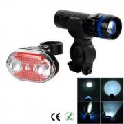 5-LED 7-Mode rojo de la cola Light + linterna blanca zoom para bicicletas - Azul