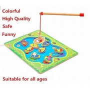 TINNZTES Cat Fishing Magnetic Game Fishes Basic Educational Development Wooden Magnetic Bath Fishing Travel Table Game