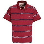 Manchester United Devil Stripe Polo - Rumba Red galléros póló