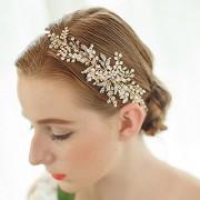FAYBOX Bridal Handmade Gold Tone Crystal Leaf Style Headband Party Wedding Hair Accessories