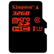 Kingston 32GB UHS-I Class U3 Micro SDHC Memory Card with Adapter (SDCA3/32GB)