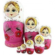 7Pcs Pink Butterfly Cutie Cute Nesting Dolls Matryoshka Madness Russian Doll Wooden Wishing Dolls Birthday Toy