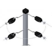 Haste para Cerca Elétrica Big Tubo Canto Castanha / Gancho 1,2Mts 12 Isoladores 28x28mm