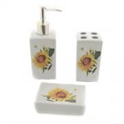 Accesorii pentru baie din ceramica cu floarea soarelui