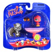 """Hasbro Year 2006 Littlest Pet Shop Pet Pairs """"Playground Pals"""" Series Collectible Bobble Head Pet Figure Set - Grey Squirrel (#132) with Acorns and Pink Canary (#131) with Birdbath Pedestal (51835) by Hasbro"""