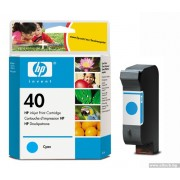 HP 40 Cyan Inkjet Print Cartridge, EXP (51640CE)