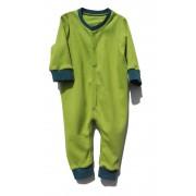 Salopeta din bumbac verde cu albastru inchidere cu capse pentru bebelusi