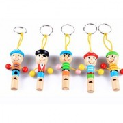5Pcs Cute Pirate Wooden Whistle With Keyring Key Chain