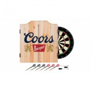 Beer Brand Wood Dart Cabinet Set with Darts and Board Coors Banquet