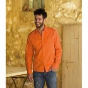 Bodyfit overhemd oranje voor hem