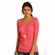 Rock & Roll Cowgirl Panhandle Slim 3/4 Sleeve Pink Henley - Large - J9-4797-67