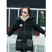 GearBest Girls Hooded Letter Print Long Padded Coat
