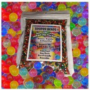 Water Beads 8 OZ pack (Almost 20000 !!) Sooper Beads Crystal Water Gel Bead [Rainbow Mix] Used For Kids Tactile Toys - SensoryToys Orbeez refill Vase Filler Soil Plant decoration Bamboo Plants