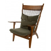 Replica Hans Wegner Arm Chair-Walnut timber with dark green/brown wool fabric