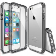 iPhone SE Case, Ringke [FUSION] Crystal Clear PC Back TPU Bumper [Drop Protection/Shock Absorption Technology] for Apple iPhone SE (2016) / 5S (2013) / 5 (2012) - Smoke Black