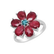 Inel argint si floare rubin
