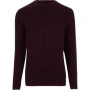 River Island Burdundy ribbed muscle fit knit jumper